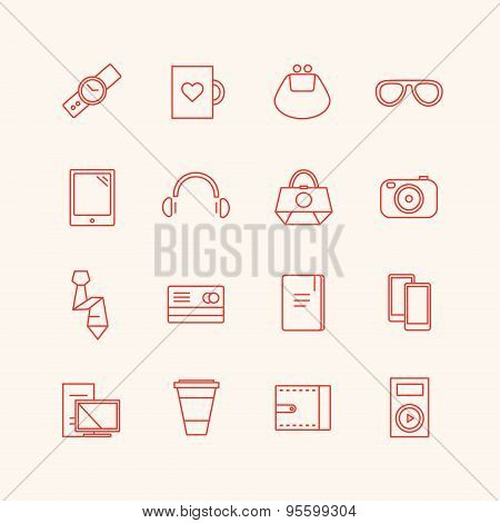 Paraphernalia vector icons set. Business, personal and technic symbols. Stocks design elements
