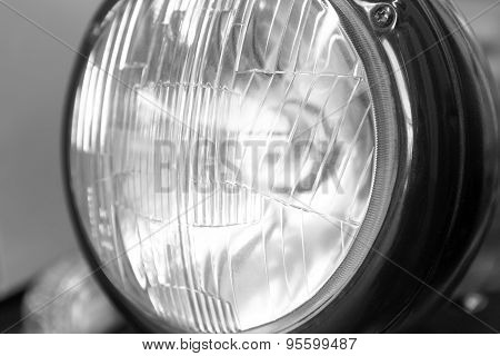 Antique Car Headlamp Detail In Black And White
