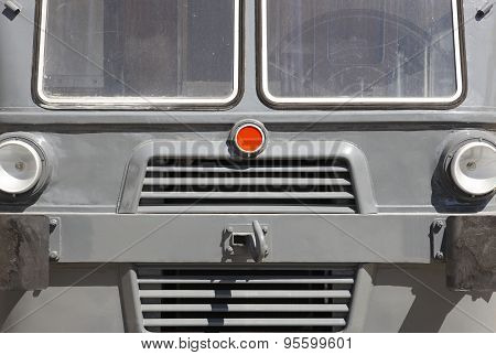 Antique Locomotive Front Cabin Detail In Grey Tone.