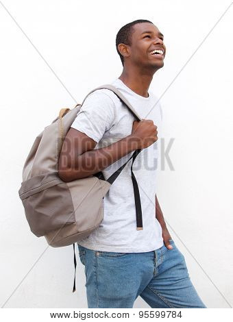 Smiling African American Male College Student Walking