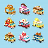 stock photo of ice-cream truck  - Vans with food in style an Isometric - JPG