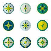 picture of wind instrument  - Wind rose compass flat vector symbols set - JPG
