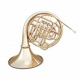 image of wind instrument  - French horn isolated on white background - JPG