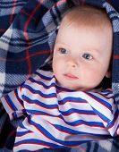 stock photo of little boys only  - Close up of little boy wrapping in soft plaid - JPG