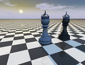 stock photo of surreal  - beautiful abstract background with chess pieces surreal illustration of chess king and queen with crowds - JPG