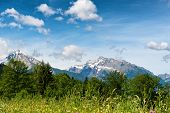 stock photo of snow capped mountains  - Scenic vista of snow - JPG
