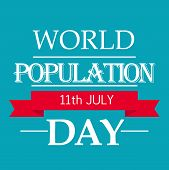 pic of population  - illustration of a stylish text with red ribbon for World Population Day - JPG