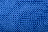 picture of knitting  - The texture of the blue knitted fabric related to the spokes for knitting purl - JPG