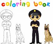 stock photo of policeman  - Policeman in black uniform and cap with guard dog - JPG