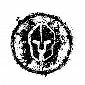 image of spartan  - grunge spartan helmet - JPG