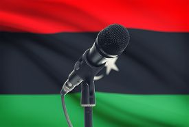 foto of libya  - Microphone with national flag on background series  - JPG