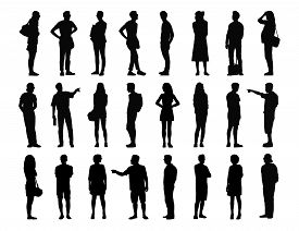 picture of ordinary woman  - big set of black silhouettes of adult men and women standing in different postures face profile and back views summertime - JPG
