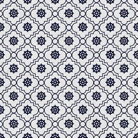 image of dharma  - Navy Blue and White Wheel of Dharma Symbol Tile Pattern Repeat Background that is seamless and repeats - JPG