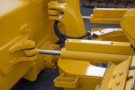 stock photo of bulldozers  - Detail of hydraulic bulldozer piston excavator arm - JPG