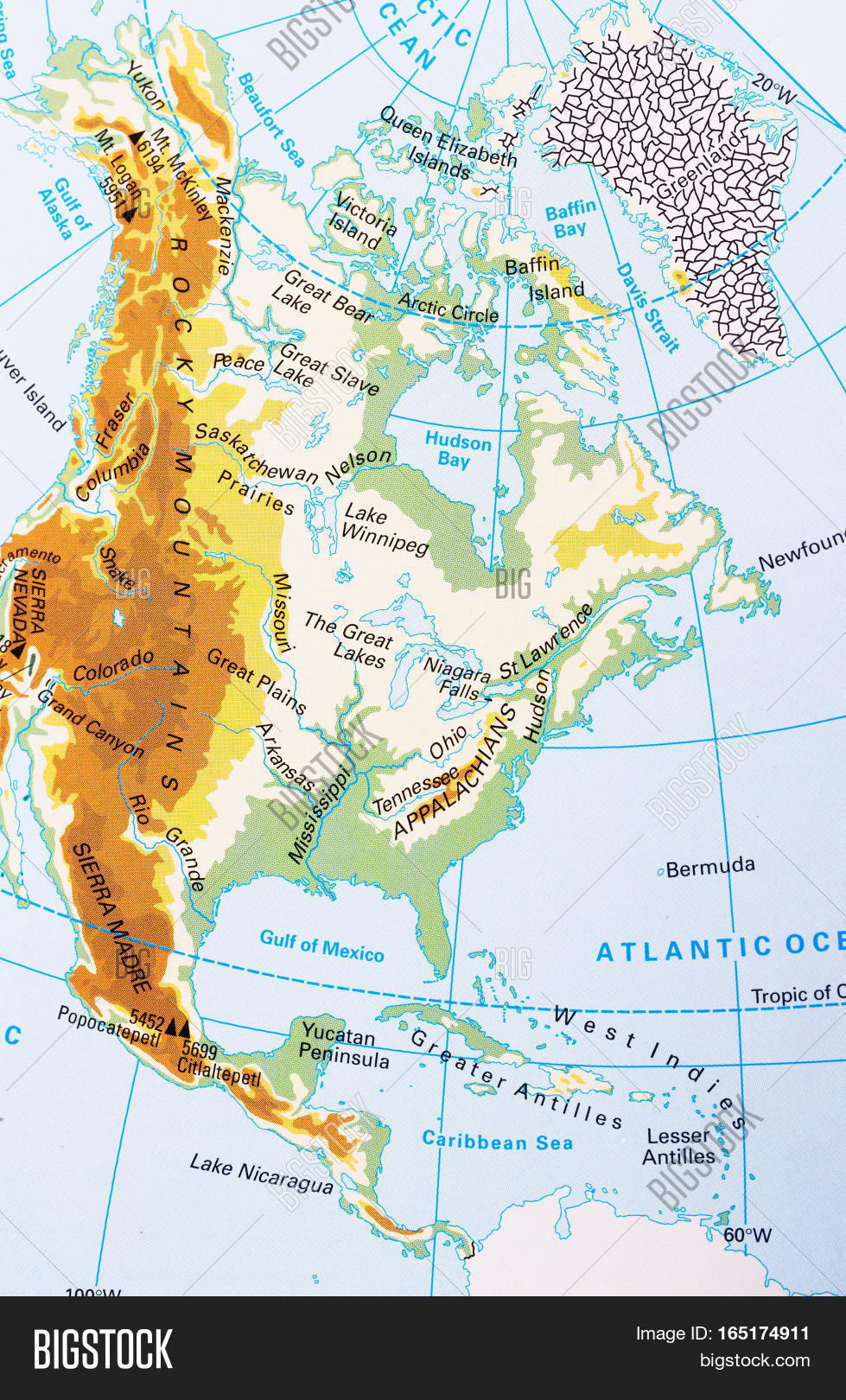 North America Physical Map Labeling Image Photo Bigstock - World physical map labeled