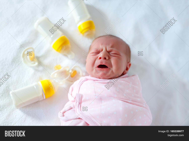 Crying Newborn Baby Girl Nursing Image Amp Photo Bigstock