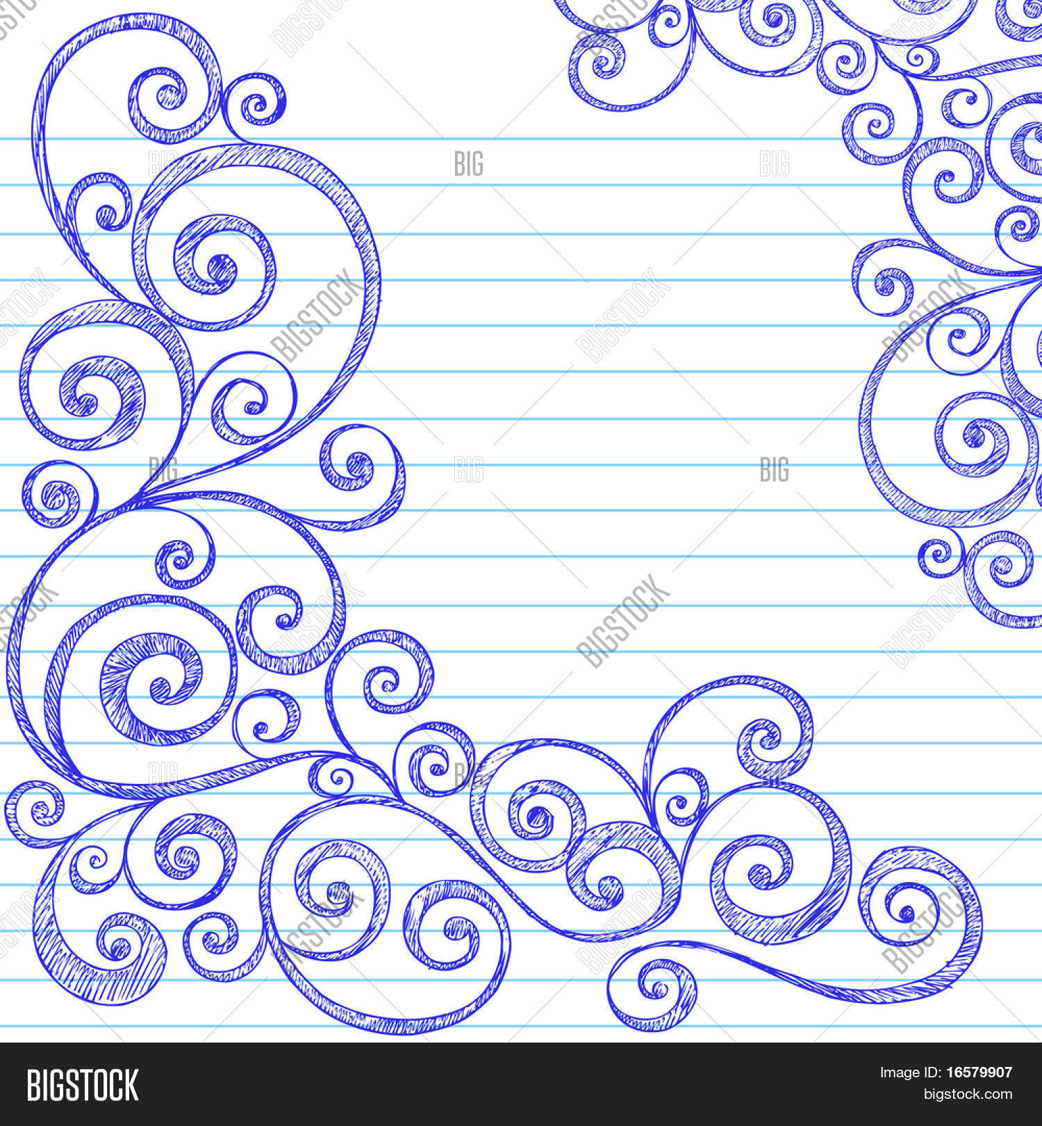 HandDrawn Sketchy Doodles Swirly Border on Lined Notebook Paper – Lined Border Paper