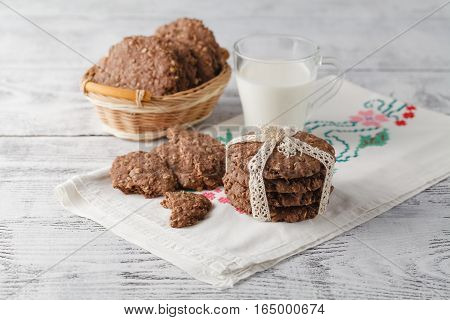 Oat Cookies On Table