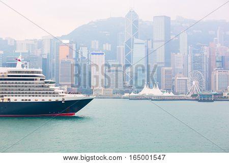Passenger boat at Victoria Harbour Hong Kong China