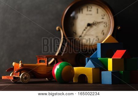 Wooden Toy Car On Table With Building Blocks