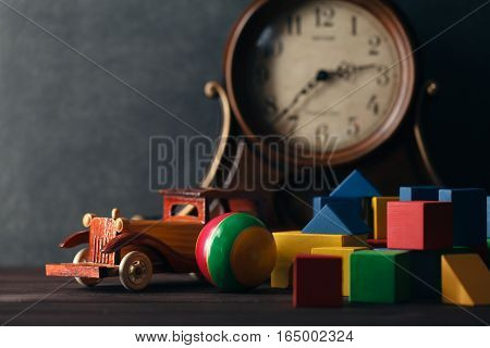 Retro Wooden Toy Car With Building Blocks