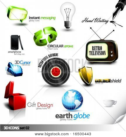 Set of detailed 3D vector Icons - Retro television, Vinyl Record, Gift, Chat, Cursor and other elements