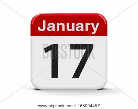 Calendar web button - The Seventeenth of January - Kid Inventors' Day three-dimensional rendering 3D illustration
