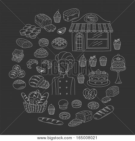 Bakery collection with female baker in chief uniform, bakery shop and fresh pastry collection with various sorts of breads and cakes. Hand drawn doodle style vector illustrations isolated on black.