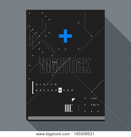 Glitch Book Cover/poster Design Template With Simple Geometric Design Elements.