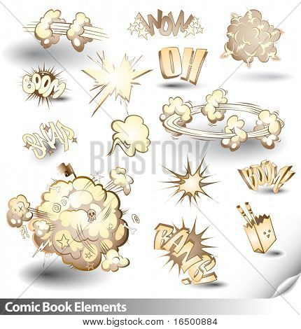 Comic Book Explosions - Vector Cartoon Elements - Sepia Theme