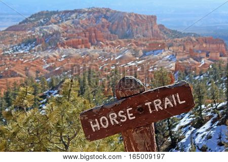 Horse trail in Bryce Canyon National Park, Utah