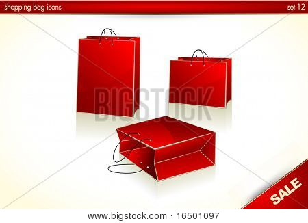 3D icons - Red Christmas Gift Bags/Shopping Bags - Set 12