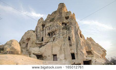 Cappadocia, Turkey - November 15, 2014: Panorama of unique geological formations in Cappadocia, Turkey.