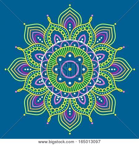 Simple colorful abstract mandala on blue background, ethno motive, vector illustration, eps 10