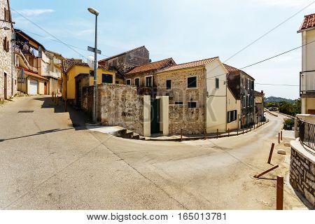 Crossroads of two streets near the center in Sibenik, Croatia.