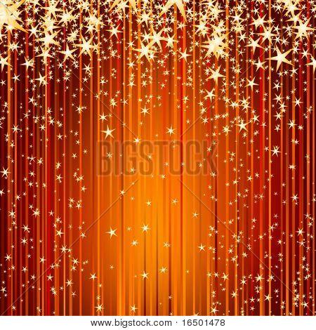 estrellas descender por un sendero de luz dorada - fondo hermoso de vacaciones de Navidad