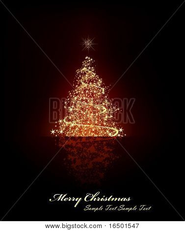 Christmas Greetings with Christmas Tree - Objects on Separated Layers Named Accordingly