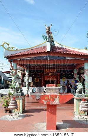 Small Temple At The Entrance Of The Chew Jetty, Penang