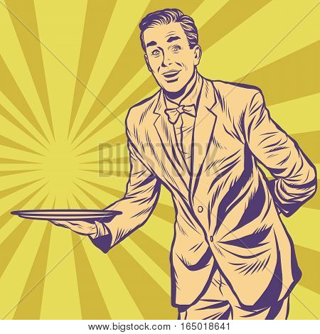Male waiter with tray. Pop art retro vector illustration