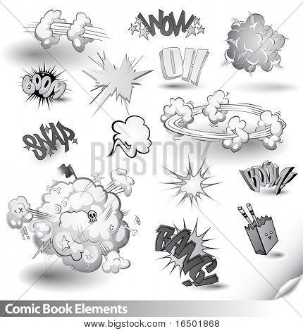 Explosiones de cómic - Vector elementos de dibujos animados - tema del monocromo blanco y negro