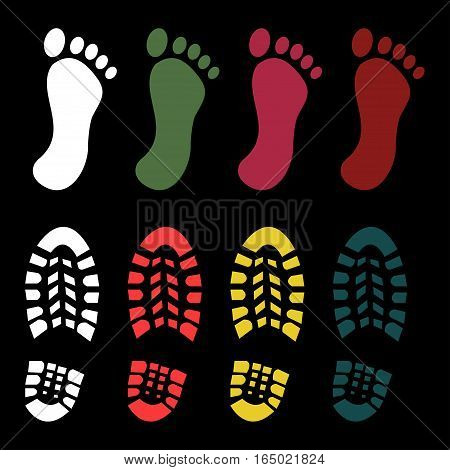 Shoe and bare foot print set - vector