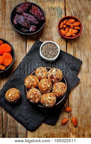 Raw vegan dried apricots dates almonds Chia seed balls.