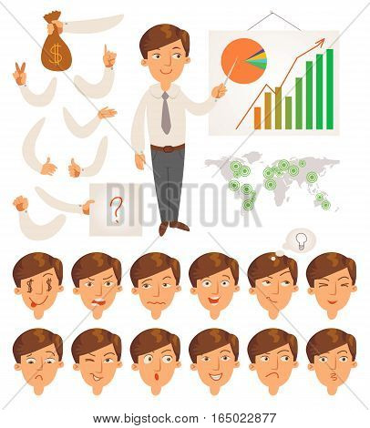 Businessman. Parts of body template for design work and animation. Face and body elements. Funny cartoon character. Vector illustration. Isolated on white background. Set