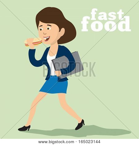 lady with a briefcase on the run eating a sausages in dough. color vector illustration