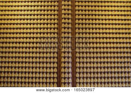 Buddha series on the wall in Wat-Leng-Noei-Yi2 temple or Wat Borom Raja Kanchanapisek Anusorn temple at Bang-Bua-Thong Nonthaburi Thailand