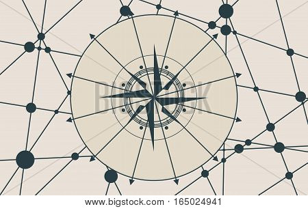 Vector brochure or report design template. Connected lines with dots. Travel and discovery relative image. Compass symbol on geometry pattern