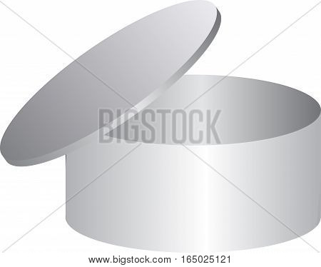 Round box open on white background. vector template for your design