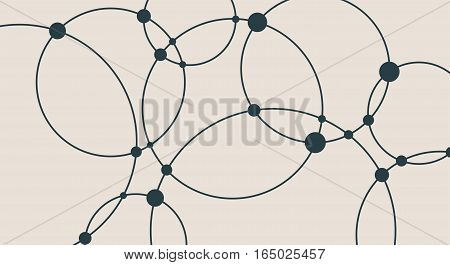Molecule And Communication Background. Modern vector brochure or web banner design template. Connected lines with dots. Medical, technology, chemistry, science background