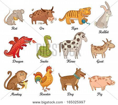 Chinese astrology. Rat, Ox, Tiger, Rabbit, Dragon, Snake, Horse, Goat, Monkey, Rooster, Dog, Pig. Set. Vector illustration. Isolated on white background