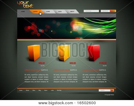 Modern Web Site Design Vector Template With Banner Design and 3D Sample Product Icons